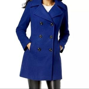 Anne Klein Double-Breasted Blue Pea Coat - Size M